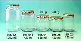 Glasburk 500 g (420 ml) med 82 mm lock 30 st på plastad bricka