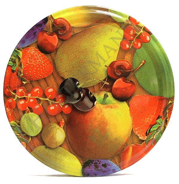 Lock med Fruktdekor, 66 mm Ø, per 24st