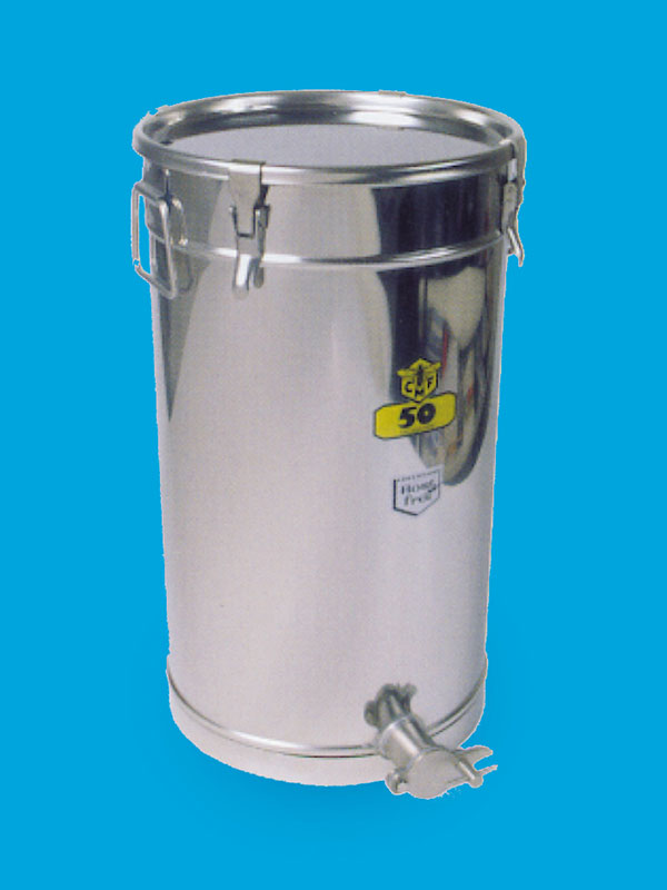 Stainless honeytank, volume 25 kilos honey with expanding lock