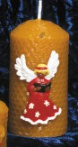 Beeswax candle with angel motif