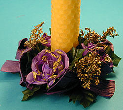Candle-ring, purple/gold
