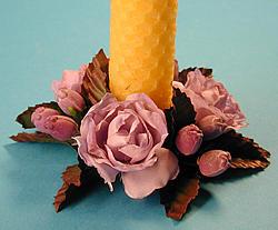 Ljusmanschett, lila rosor