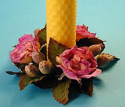 Ljusmanschett, rosa rosor