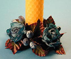 Ljusmanschett, blå rosor