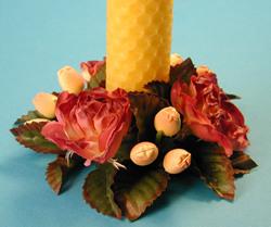 Ljusmanschett, aprikosa rosor